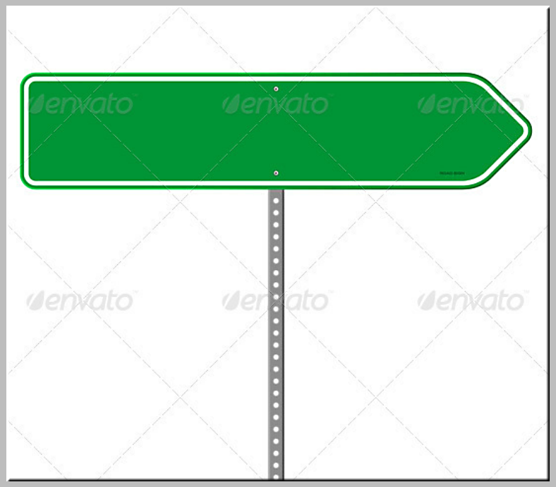 One-Sided Green Directional Sign Template