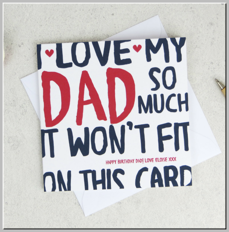 Oversized Text Dad Birthday Card Template