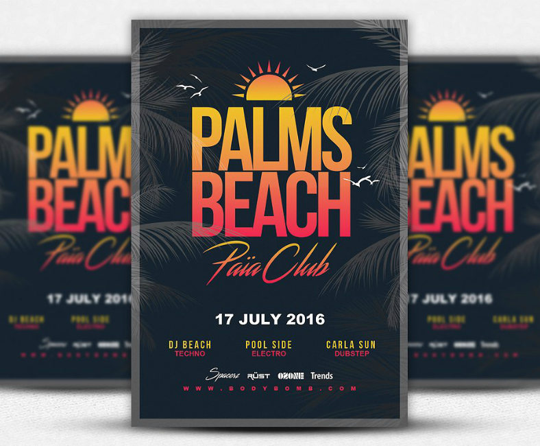 palms beach club flyer template 788x650
