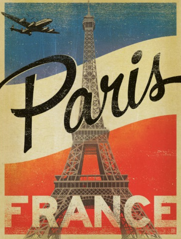 paris france flag postcard