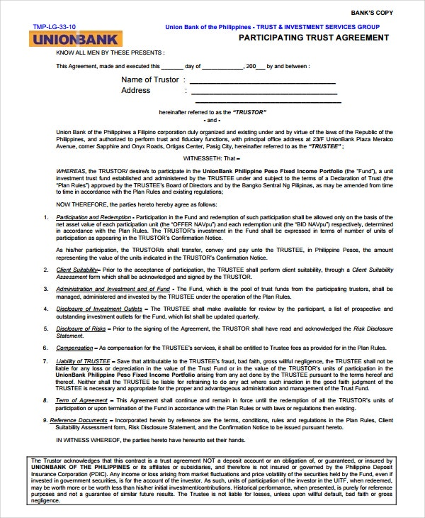 participating trust agreement