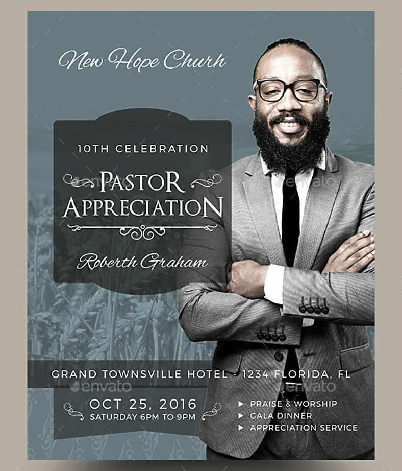 pastor appreciation flyer template 788x922