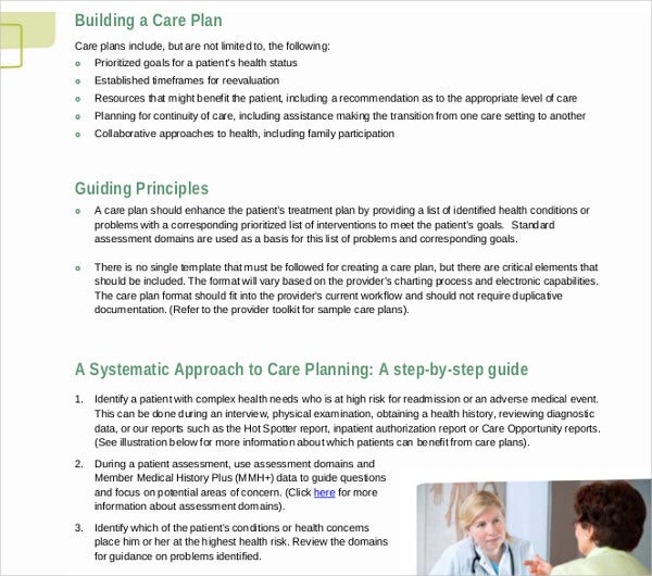 patient care plan development template