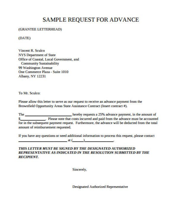 Payment Request Letter Template