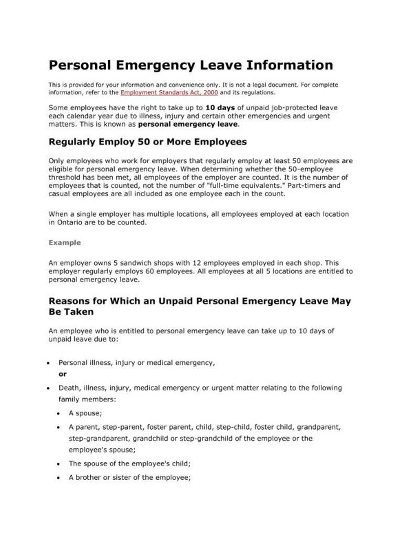 personal emergency leave information