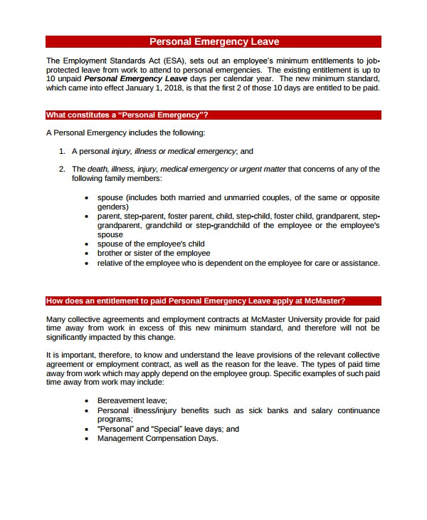 emergency leave letter for employee 14 emergency leave letter templates pdf free 21478 | Personal Emergency Leave