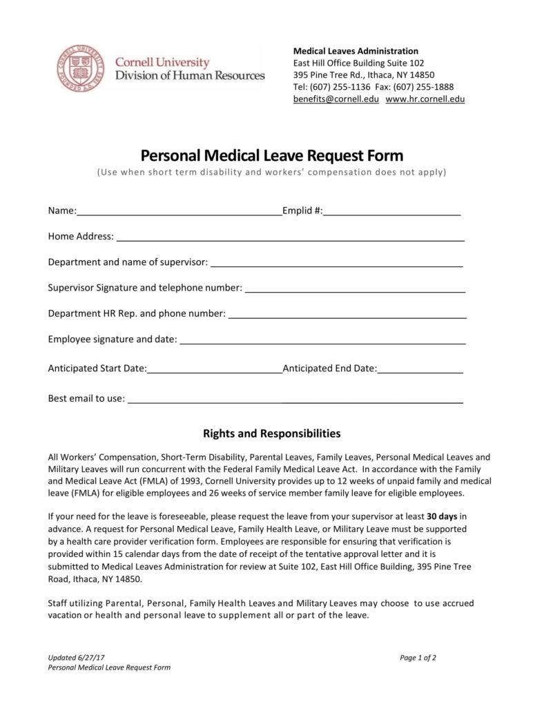 Personal Medical Leave request