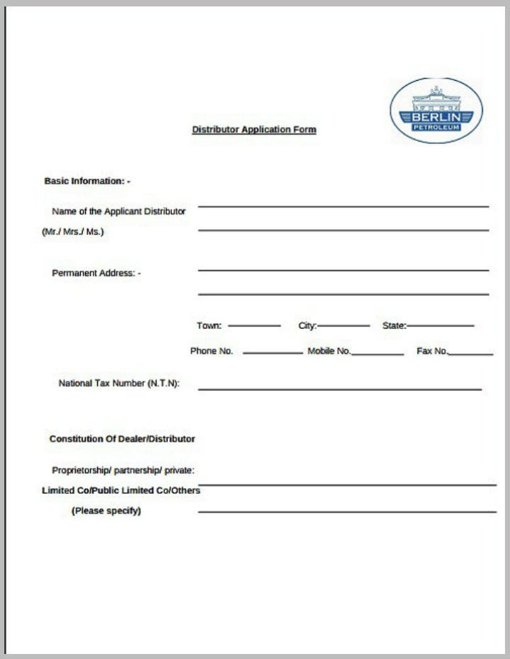 petroleum distributor application form template