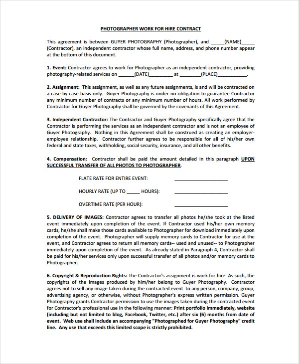 photographer work for hire agreement