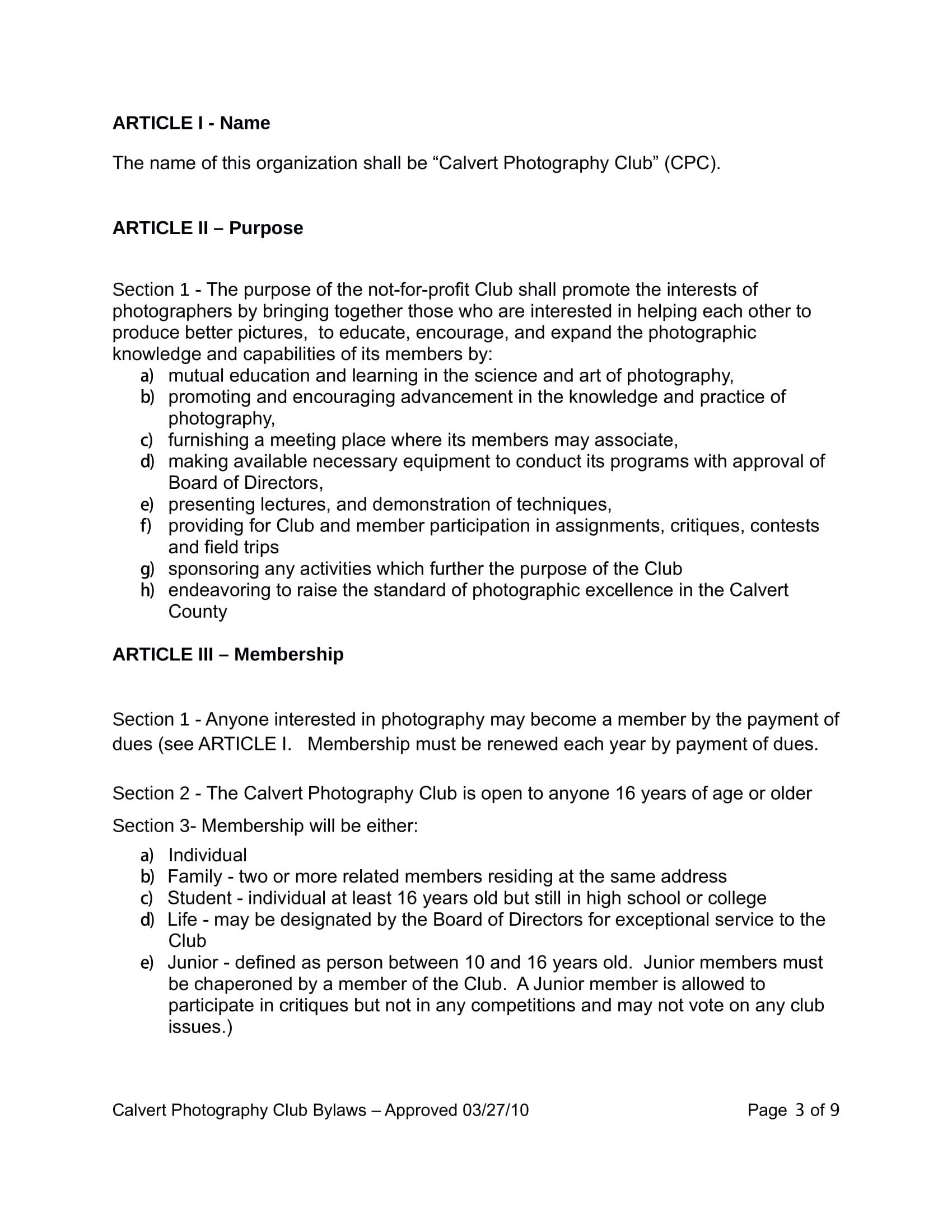 10 club bylaws templates pdf free premium templates