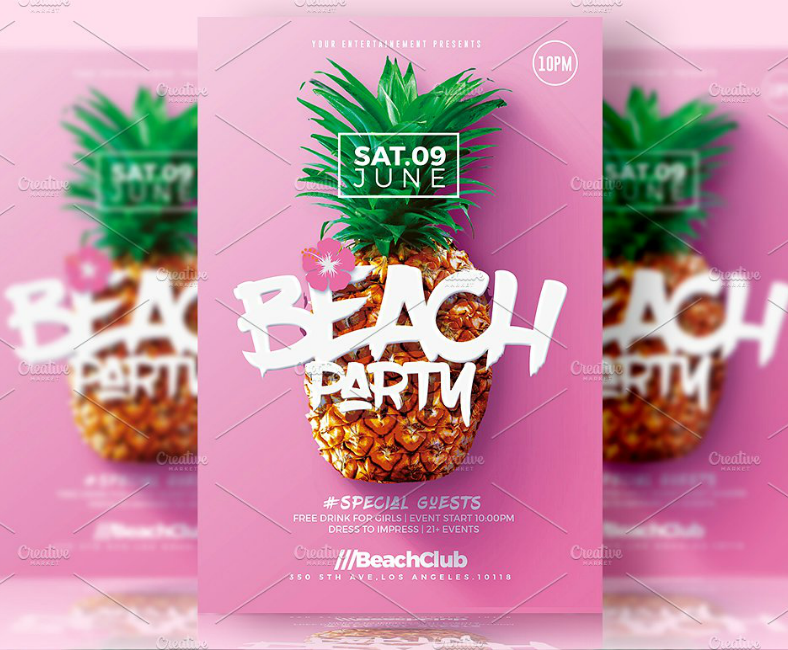 pineapple beach club flyer template 788x650