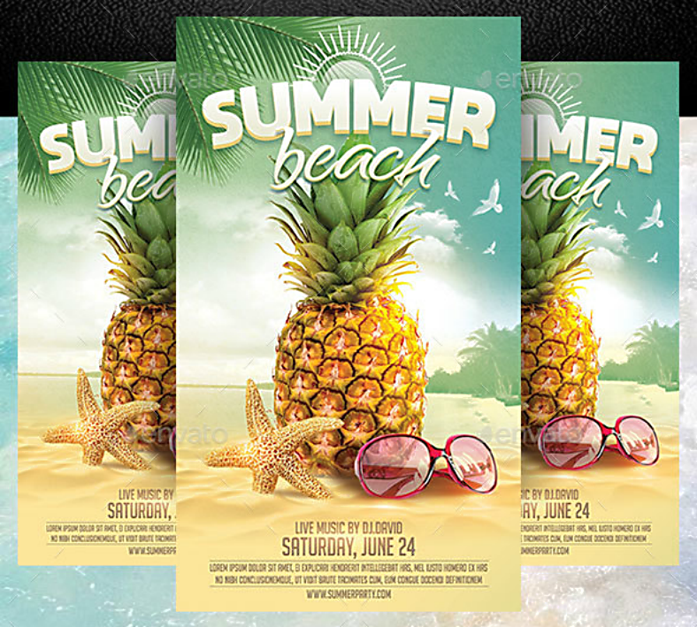 pineapple starfish beach flyer template 788x709