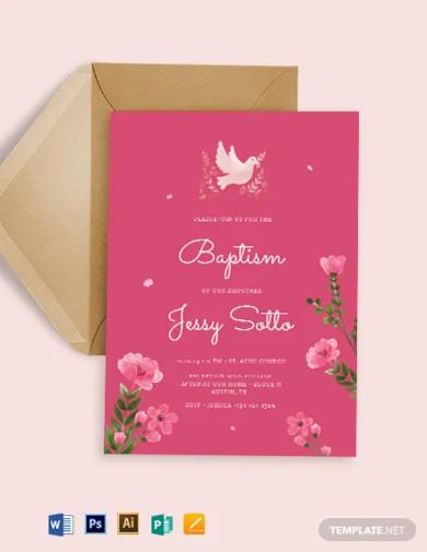 pink baptism invitation template