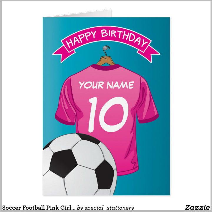 pink football shirt girly birthday card template