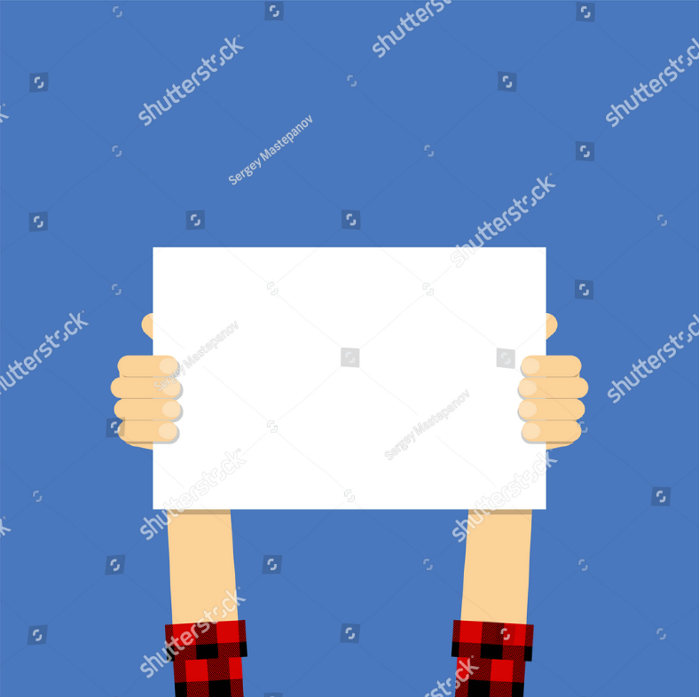Plaid Shirt Guy Holding Placard Template