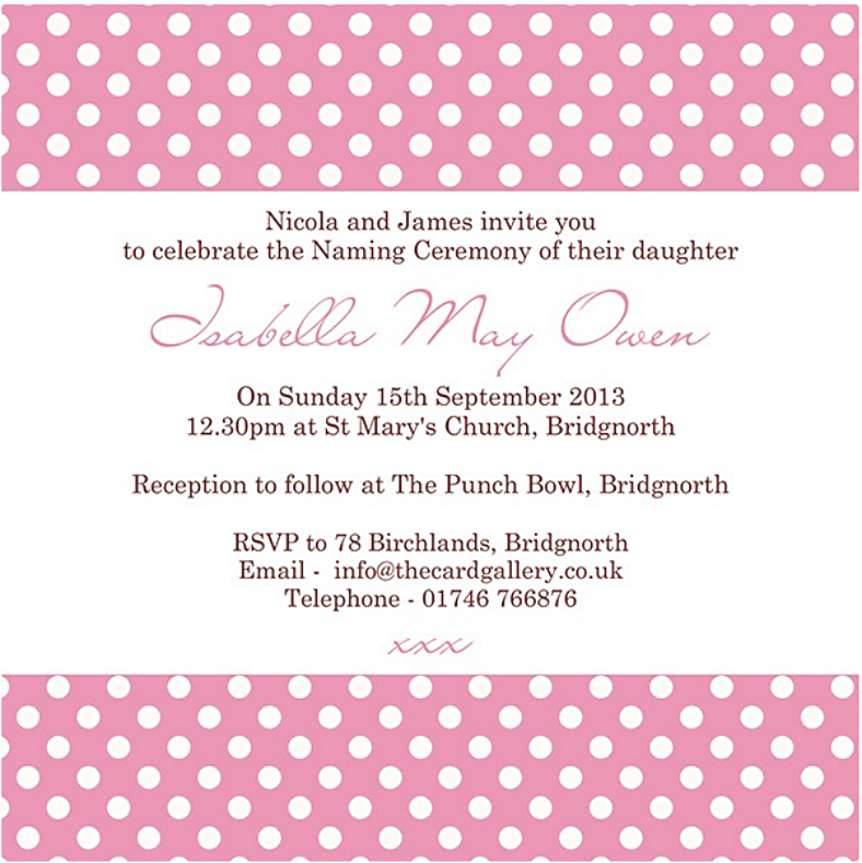 Polka Dotted Naming Ceremony Invitation Template