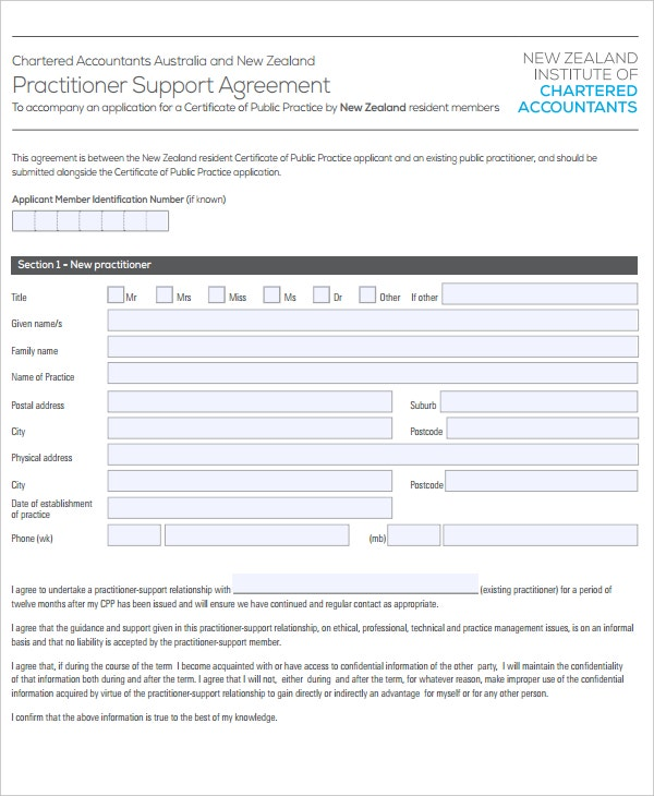 practitioner support agreement