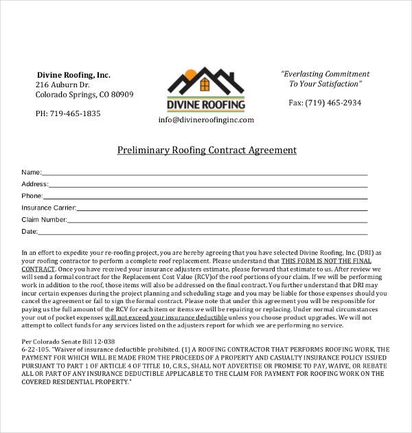 Preliminary Roofing Contract Template