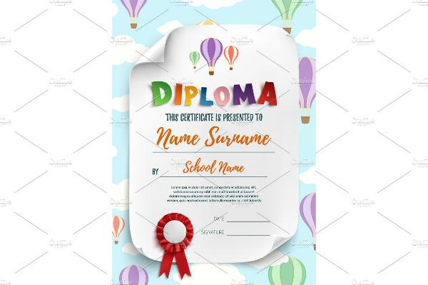 Preschool Graduate Diploma Certificate Sample