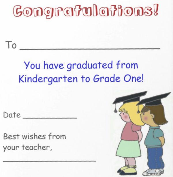 Preschool Graduation Congratulation Certificate