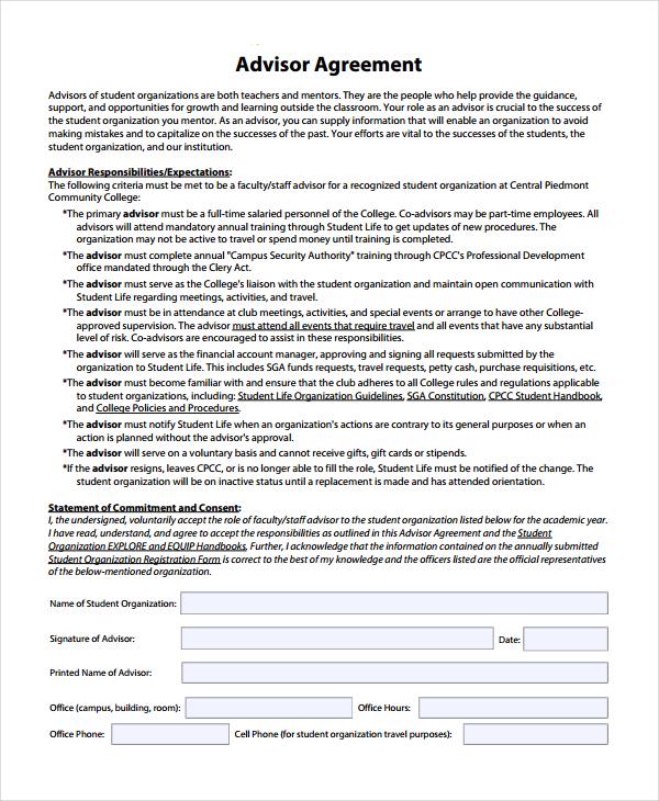 printable advisor agreement