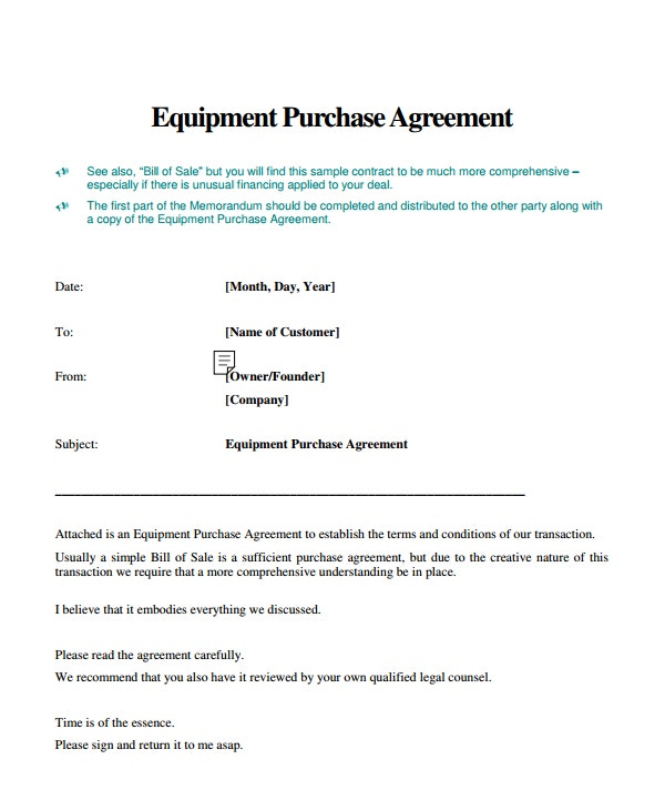 printable equipment purchase agreement
