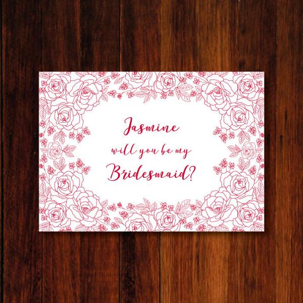 Printable Floral Bridesmaid Request Postcard
