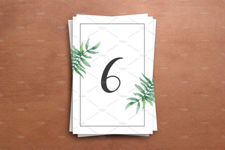 printable greenery style wedding table number