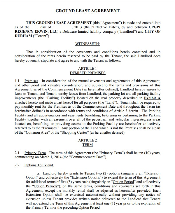 printable ground lease agreement