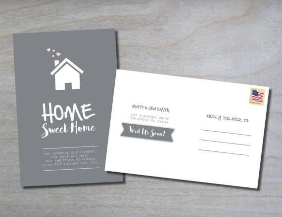 Illustration New Address Postcard Template