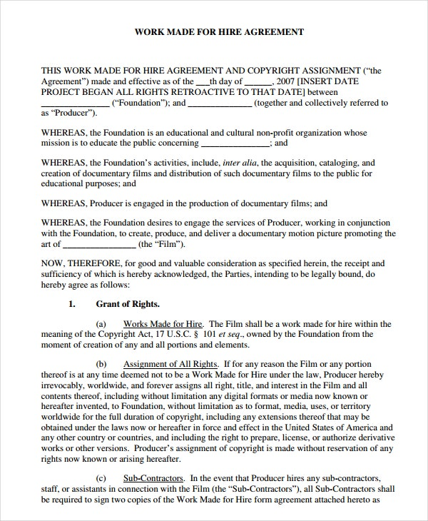 printablework made for hire agreement