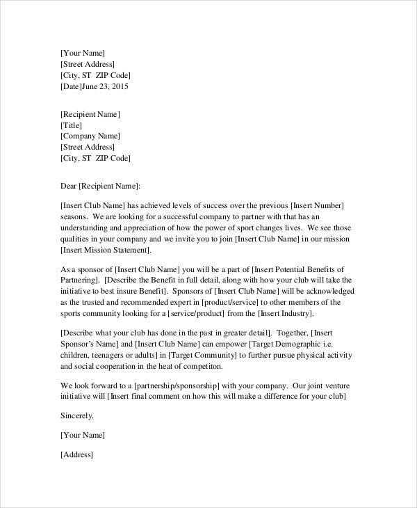 professional request for sponsorship letter template