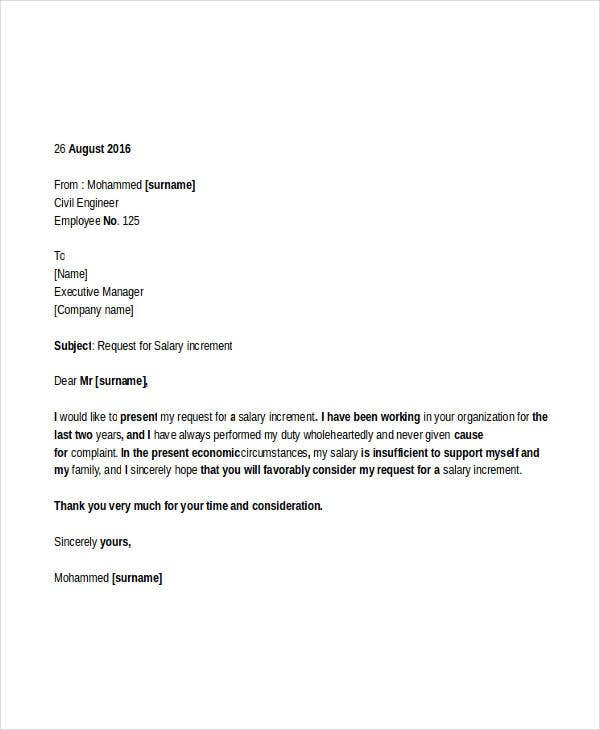 professional request letter for salary increment