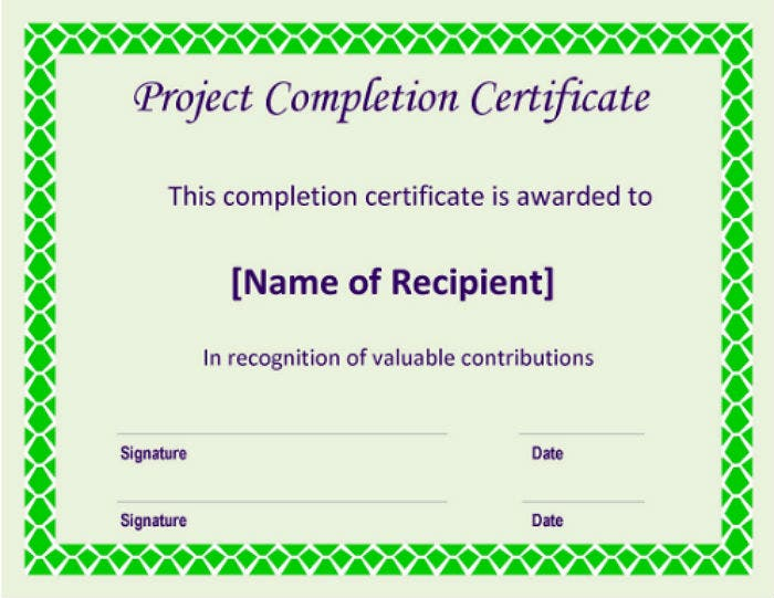 sample certificate format for project completion