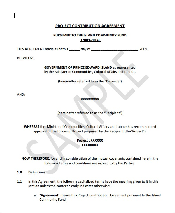 project contribution agreement
