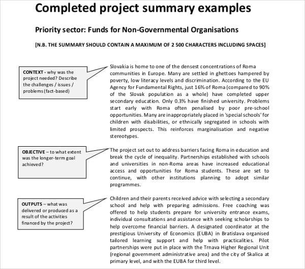 project summary example