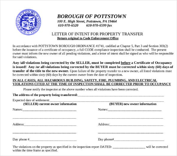 property transfer letter of intent