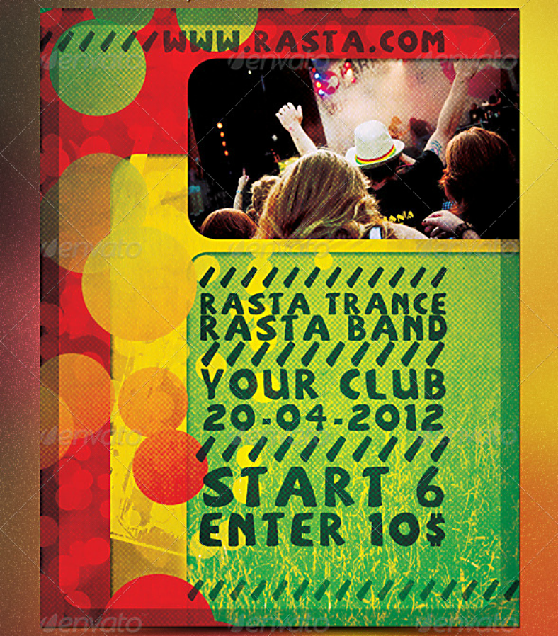 Rasta Trance Cannabis Flyer Template