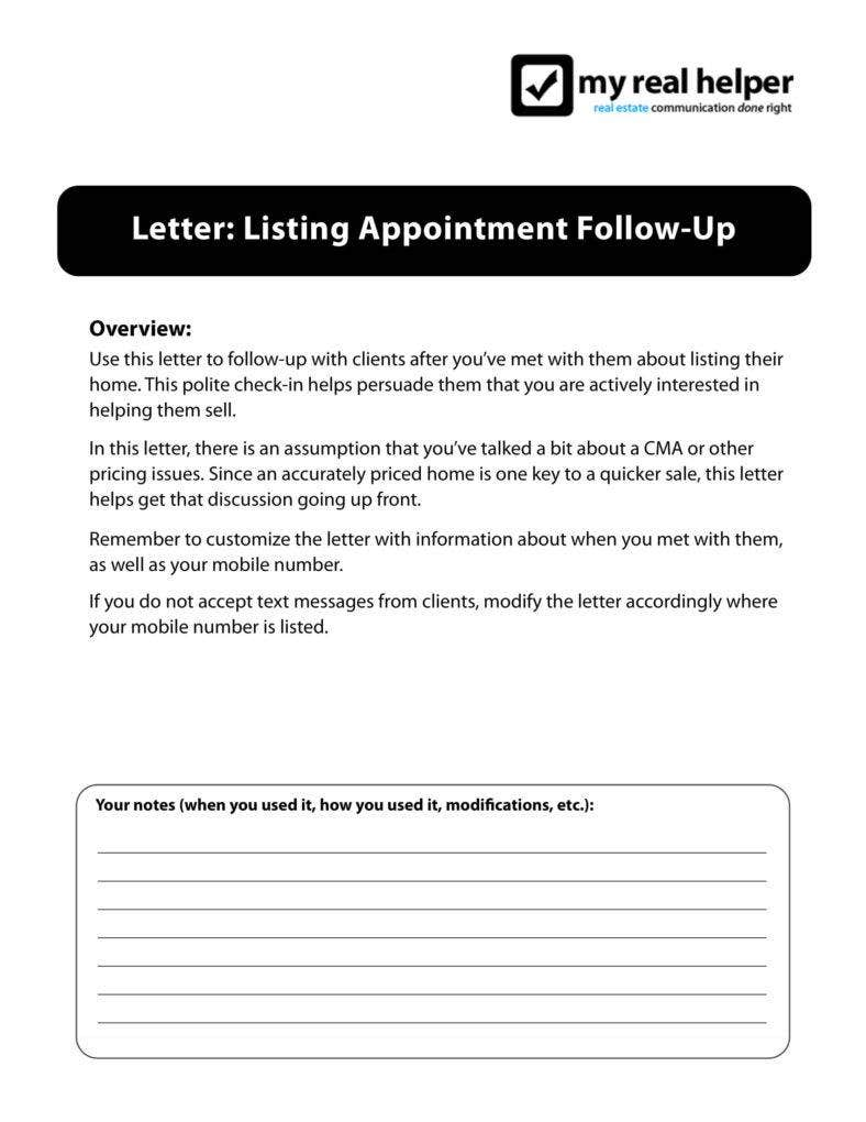 Real Estate Follow Up Letter Templates  Pdf  Free  Premium