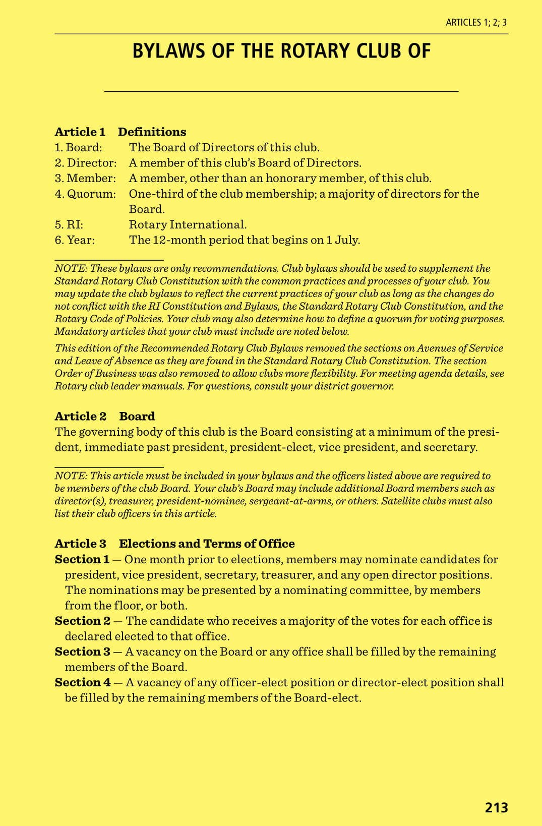 recommended club bylaw template