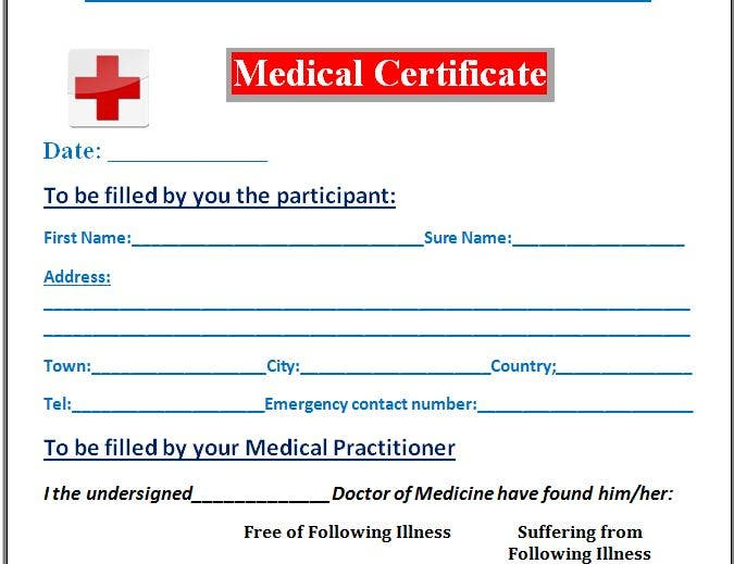 red cross medical leave certificate template