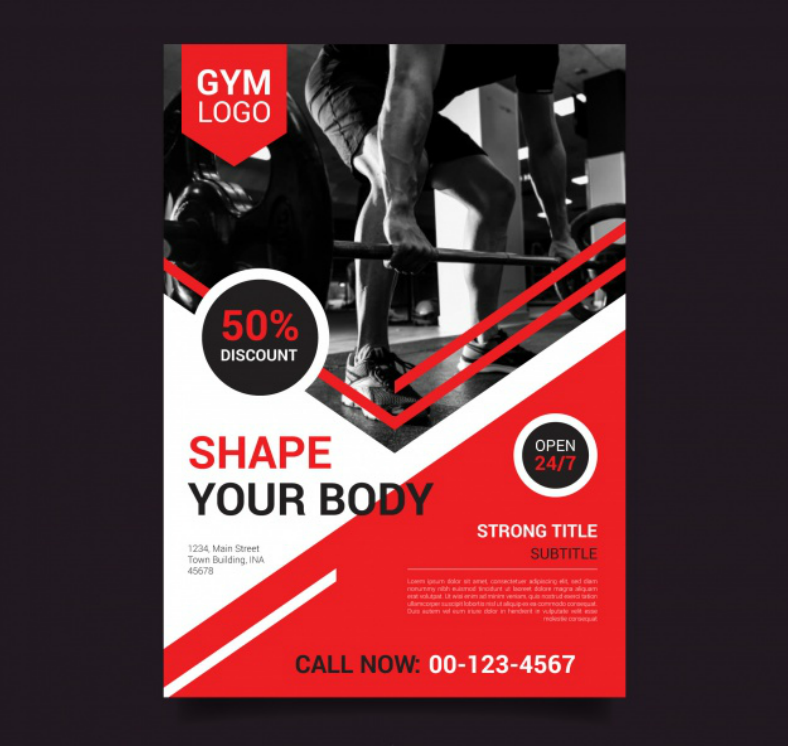 red modern gym flyer template 788x746