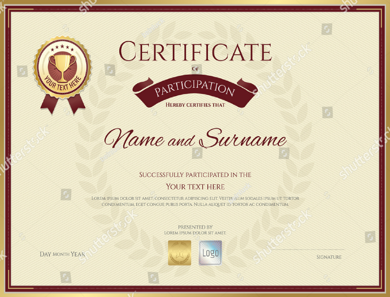 Red and Gold Participation Certificate Template