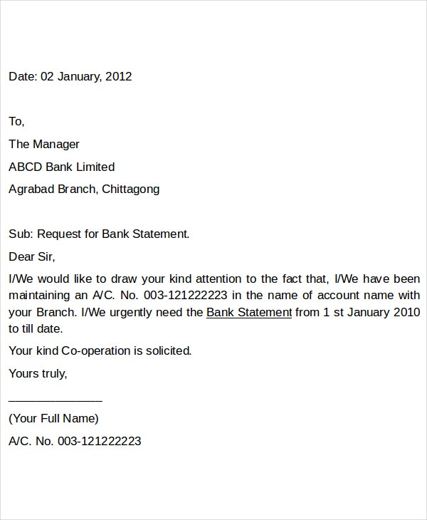 bank letter statement request letter
