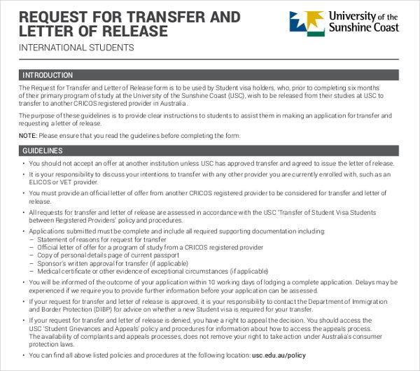 request for transfer letter of release