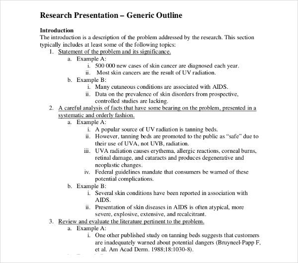 research presentation generic outline