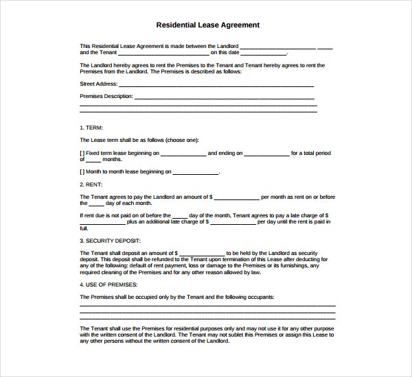 5 residential lease agreement templates pdf free premium