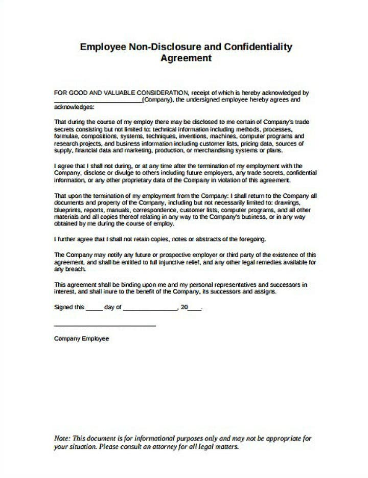 restaurant-employee-non-disclosure-agreement-template