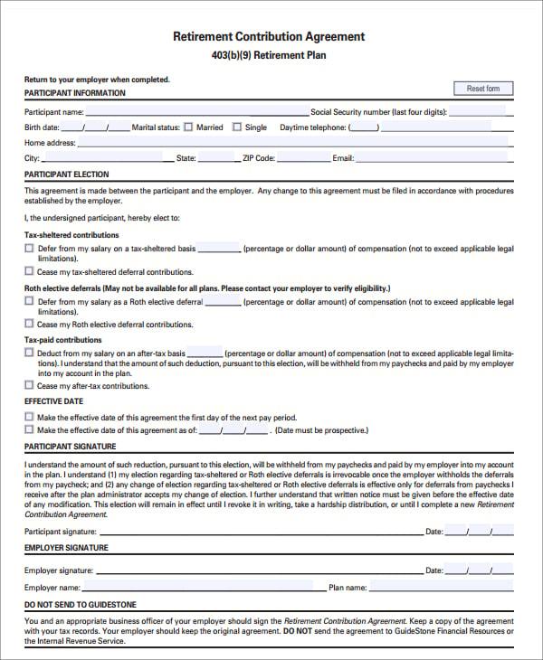 retirement contribution agreement