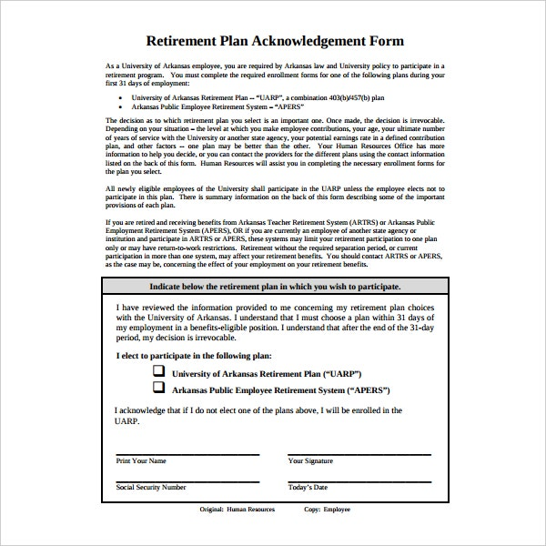 retirement plan acknowledgement form